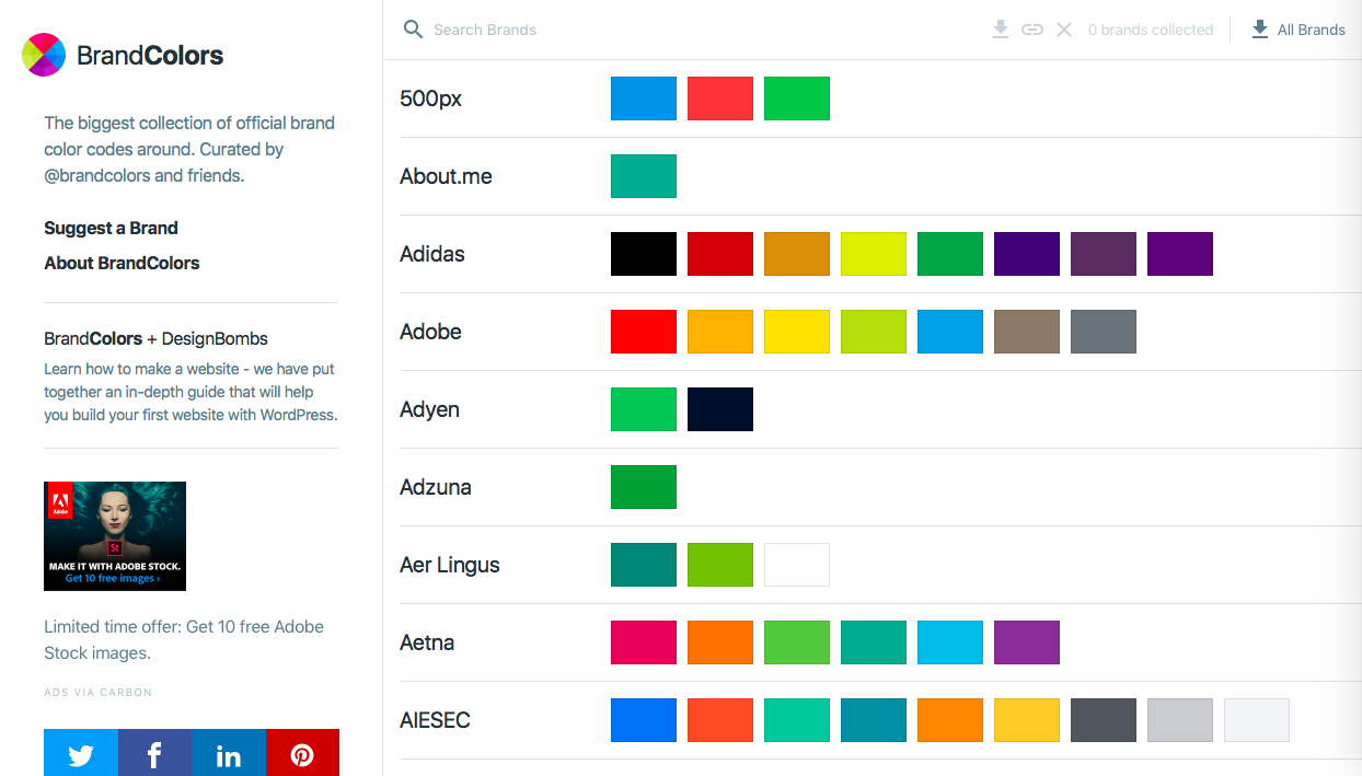 brandcolors - インスピレーション系カラーツールまとめ