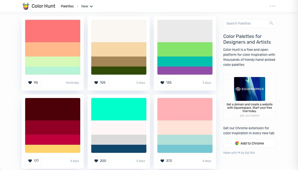 color hunt - AI (人工知能)・ワンクリック系カラーツールまとめ