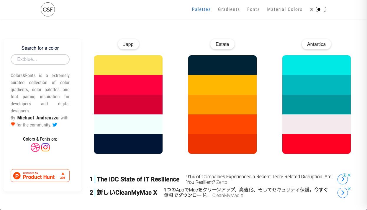 colors and fonts - AI (人工知能)・ワンクリック系カラーツールまとめ