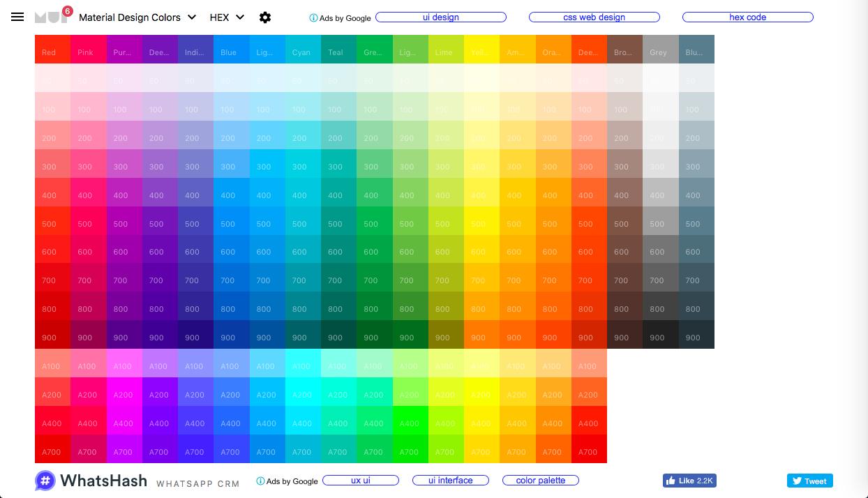 material design colors - マテリアルデザイン系カラーツールまとめ