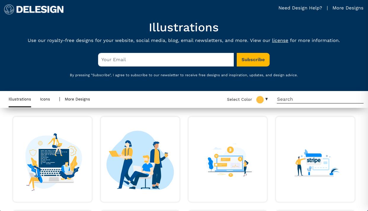delesign - デザイン性が高くお洒落な無料(フリー)のイラスト素材サイト・サービスまとめ