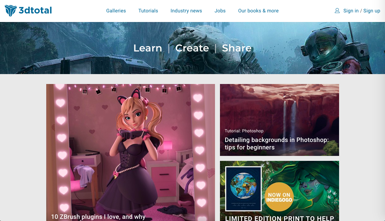 3dtotal 1 - デザイン・イラストのインスピレーションを引き出してくれるサイト・サービス