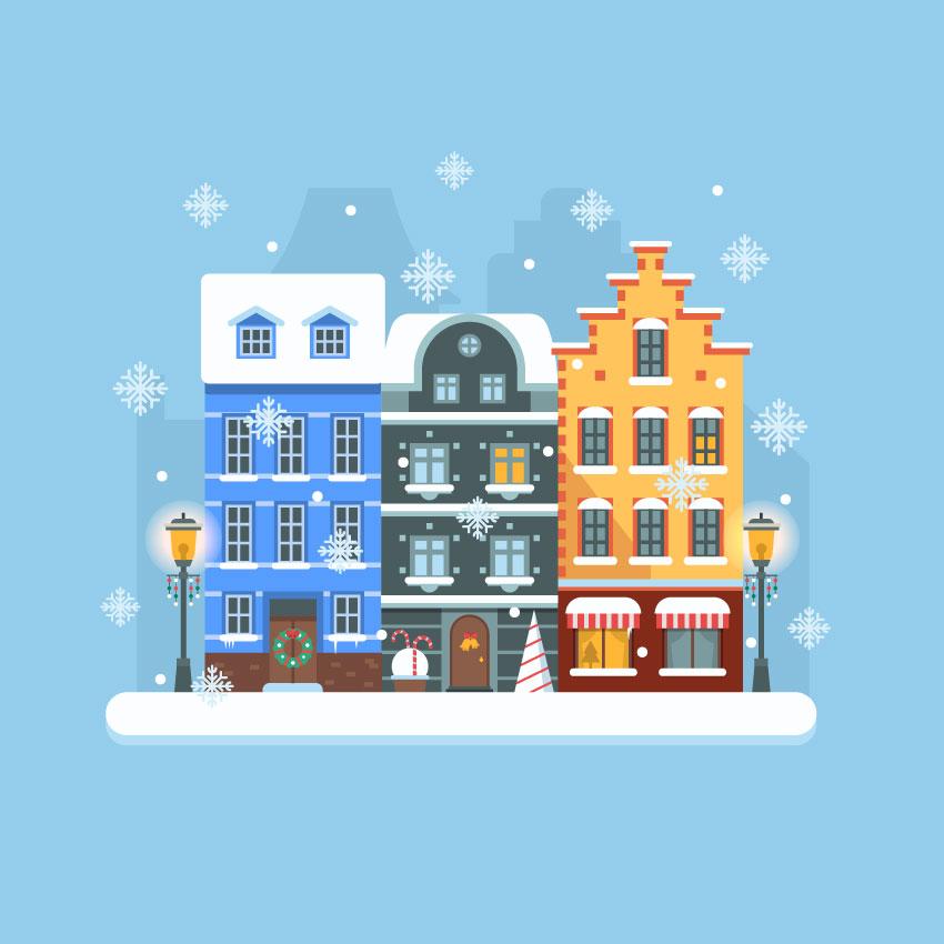 winter city scene - Adobe Illustratorのチュートリアルの一覧まとめ