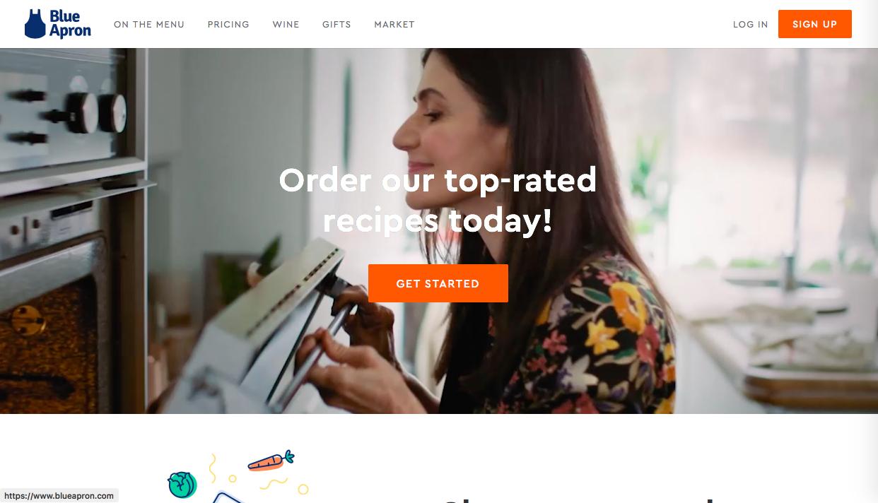 blue apron - イラストを用いたWebデザインの特徴・効果とその参考になるサイト