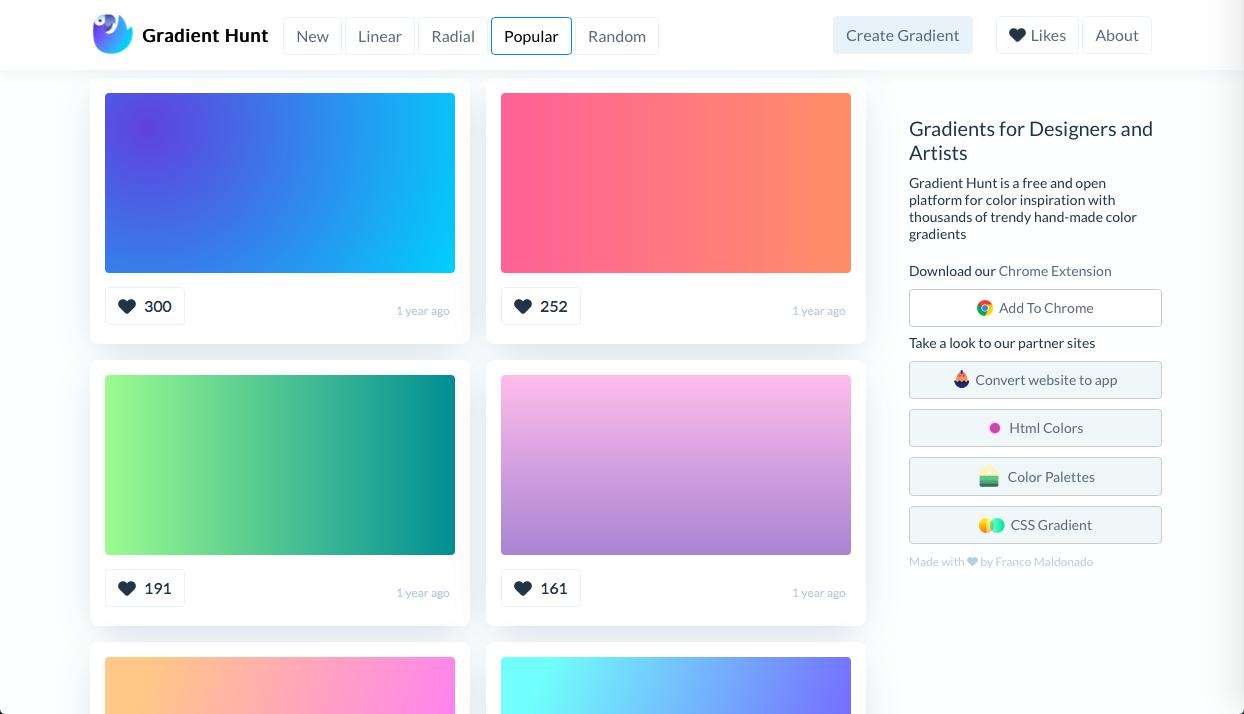 gradient hunt - グラデーション関連のカラーツールまとめ