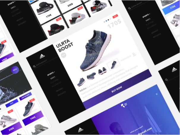 adidas website redesign sketch resource - 無料で利用できるSketch用のUIキット・デザイン素材まとめ
