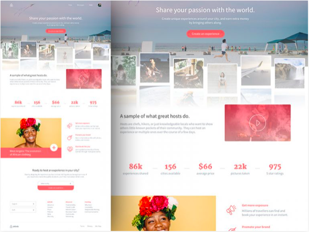 airbnb landing page sketch resource - 無料で利用できるSketch用のUIキット・デザイン素材まとめ