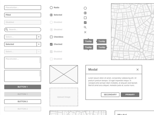 basic wireframe kit sketch resource - 無料で利用できるSketch用のUIキット・デザイン素材まとめ