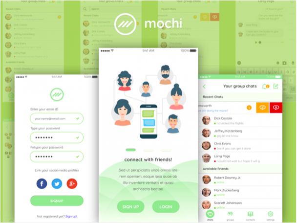 mochi chat ui kit sketch resource - 無料で利用できるSketch用のUIキット・デザイン素材まとめ