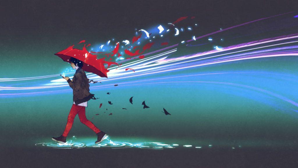 human-umbrella-sky