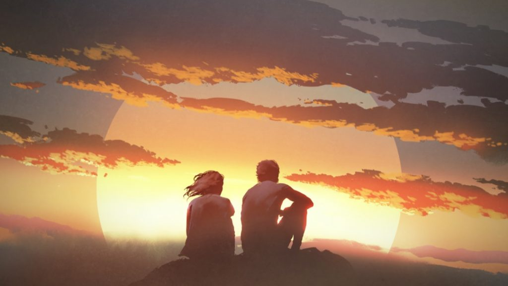 man-woman-sunset